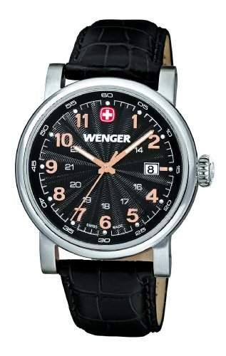 Wenger Herren-Armbanduhr XL Urban Classic Analog Quarz Leder 011041105