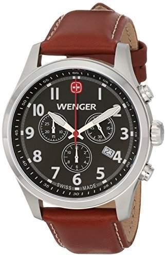 Wenger Herren 43mm Chronograph Braun Leder Armband Mineral Glas Uhr 0543102