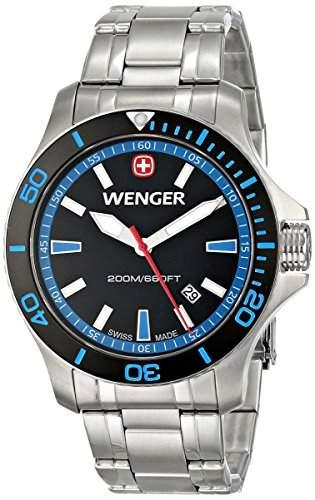 Wenger Herren 43mm Silber Edelstahl Armband & Gehaeuse Mineral Glas Uhr 0641106