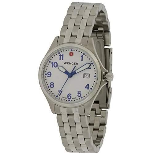 Wenger Damen 30mm Silber Edelstahl Armband & Gehaeuse Mineral Glas Uhr 72790S