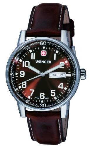 Wenger Herren-Armbanduhr XL Commando Day Date Analog Quarz Leder 70162XL