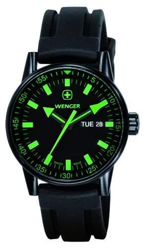 Wenger Herren-Armbanduhr XL Commando Black Line Analog Quarz Silikon 70172