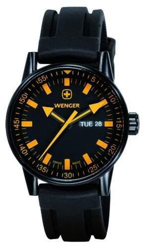 Wenger Herren-Armbanduhr XL Commando Black Line Analog Quarz Silikon 70173