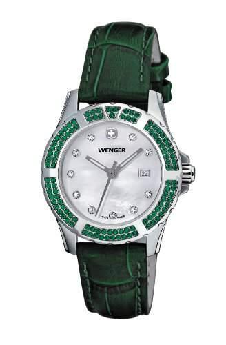 Wenger Herren-Armbanduhr Analog Leder gruen 70313