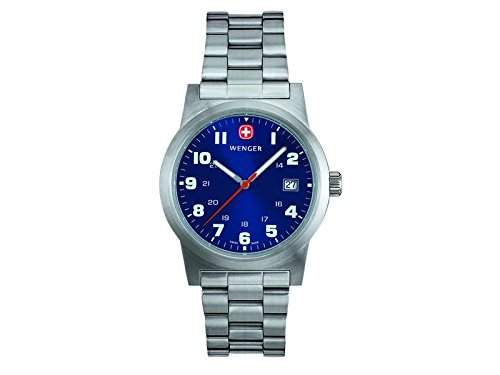 Wenger Uhr 72908 Field Classic Edelstahlarmband, blaues Zifferblatt
