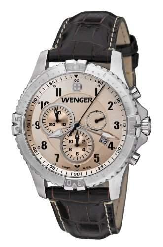 Wenger Herren-Armbanduhr XL Squadron Chronograph Quarz Leder 77052