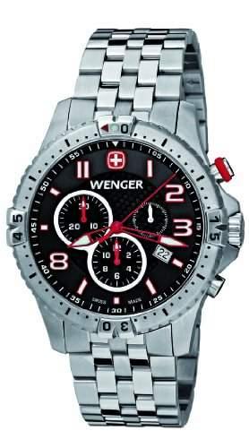 Wenger Herren-Armbanduhr XL Squadron Chronograph Quarz Edelstahl 77056