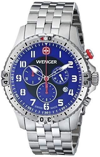 Wenger Herren-Armbanduhr XL SQUADRON CHRONO Analog Quarz Edelstahl 77060