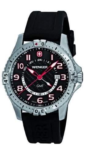 Wenger Herren-Armbanduhr XL Squadron GMT Analog Quarz Silikon 77075