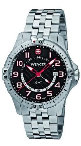 Wenger Herren-Armbanduhr XL Squadron GMT Analog Quarz Edelstahl 77076