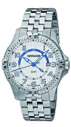 Wenger Herren-Armbanduhr XL Squadron GMT Analog Quarz Edelstahl 77079