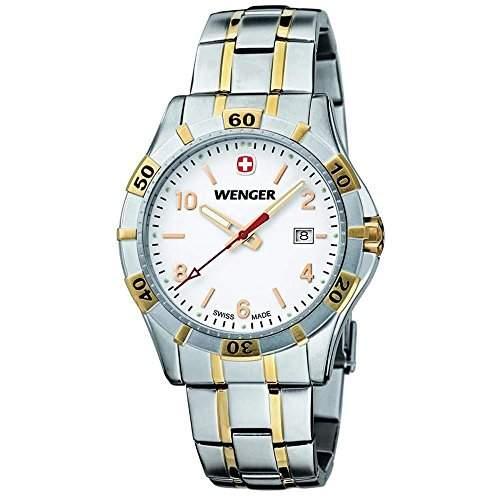 Wenger Herren-Armbanduhr Armband Edelstahl Zwei Ton + Gehaeuse Quarz Zifferblatt Weiss Datum Analog 0941,105
