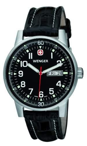 Wenger Herren-Armbanduhr XL Commando Day Date Analog Quarz Leder 70164XL