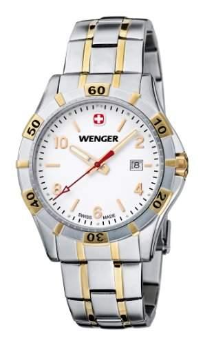 Wenger Herren-Armbanduhr XL Platoon Analog Quarz Edelstahl beschichtet 019411105