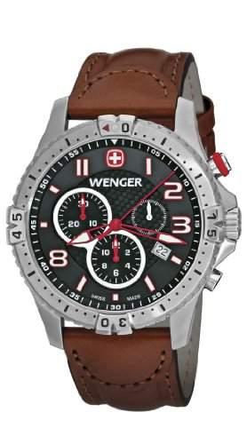 Wenger Herren-Armbanduhr XL Squadron Chronograph Quarz Leder 77051