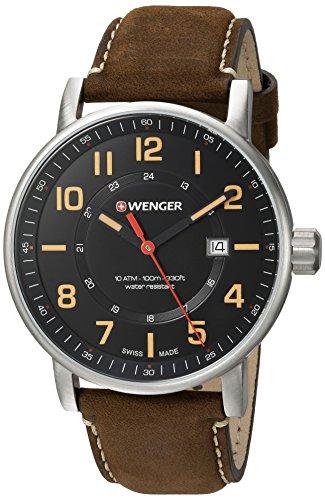 Wenger 01 0341 108 Herren Attitude schwarz Zifferblatt braun Leder Armbanduhr