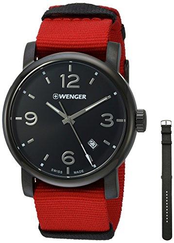 Wenger 01 1041 132 schwarz Zifferblatt Nylon Gurtband rot