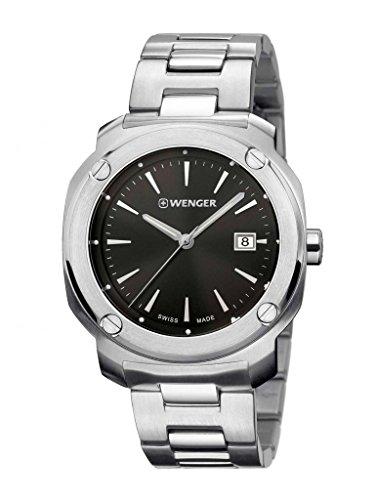 Wenger 01 1141 109 Herren s Edge Index Edelstahl Fall und Armband Band Schwarz Zifferblatt Silber Armbanduhr