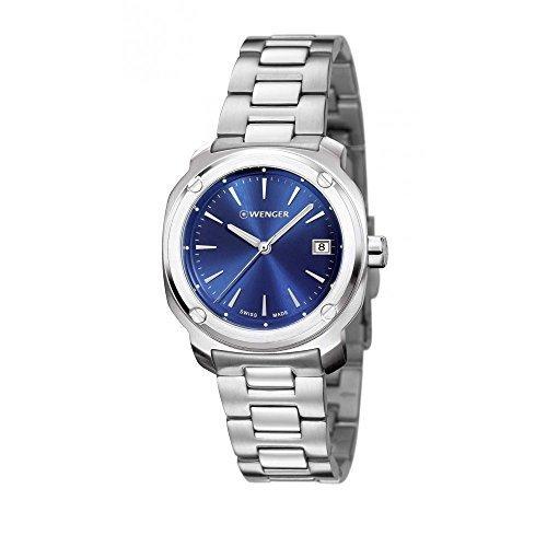 Wenger 01 1141 112 Edge Index Edelstahl Armband Band Blau Zifferblatt Armbanduhr