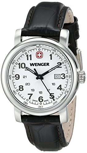 Wenger 1021 101 klassisch silberfarbenes Zifferblatt dunkelbraunes Lederband aus der Schweiz