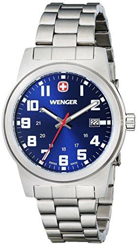 Wenger Classic Field Schweizer Uhr gross blau Zifferblatt Armband