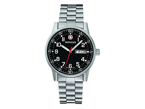 Wenger Uhr Commando Day Date XL Edelstahl Armband WEEE Reg Nr DE67518601