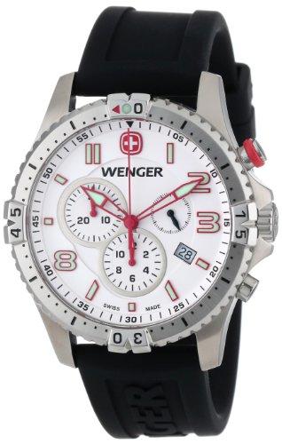Wenger Herren 77050 Squadron Chrono White Dial Rubber Strap Uhr