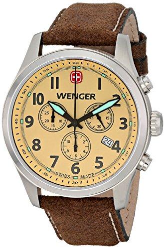 Wenger Armband Leder Braun Gehaeuse Edelstahl Quarz Zifferblatt Champagner 0543 105