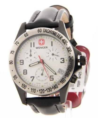 Mens Wenger Schweizer Leder Feld Jahrhundert Chronograph Tachymeter Datum Einsatzuhr 70883