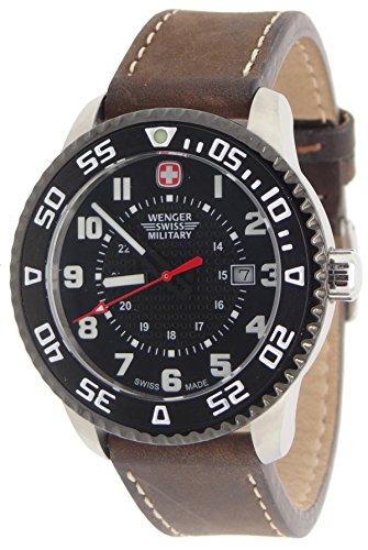 Wenger Swiss Military 79284 C Roadster stahl Armbanduhr Braun Leder Riemen