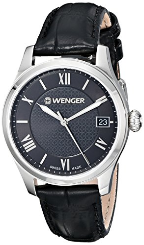 Wenger Damen 34mm Schwarz Leder Armband Edelstahl Gehaeuse Hardlex Uhr 0521 104