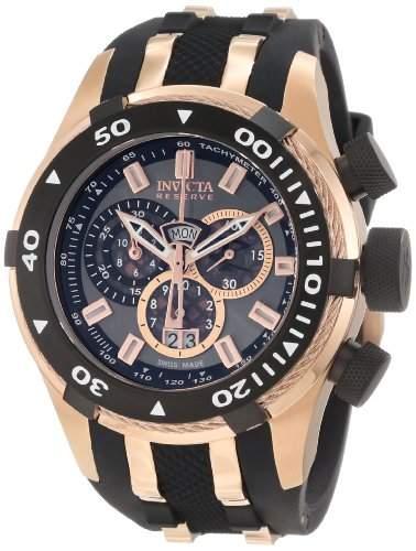 Invicta 0978 Reserve Mens Bolt Swiss Made Quartz Chronograph Tachymeter Polyurethane Strap Watch