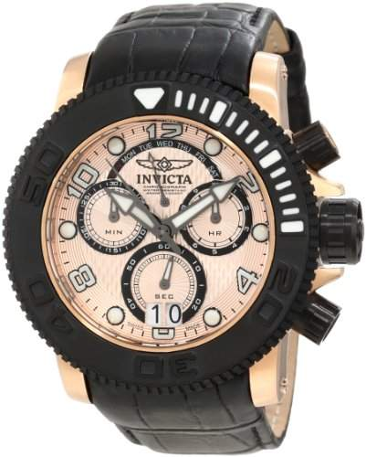Invicta Mens 11167 Sea Hunter Pro Diver Chronograph Rose Gold Textured Dial Watch