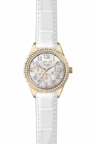 12608 Invicta Women 795 Angel White Mop Dial Quartz Multifunction Leather Watch