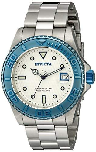 Invicta Watch Pro Taucher Unisex Automatikuhr mit silbernem Zifferblatt Analog-Anzeige und Silber Edelstahl Armband 12835