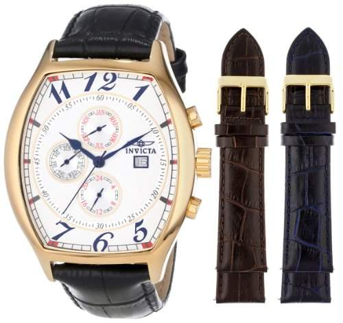 Invicta Herren-Armbanduhr XL Analog Quarz Leder 14330