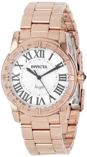 Invicta Mujer 14375 Angel Silver Dial Diamond-Accented 18k Rose Gold Ion-Plated Stainless Steel Reloj