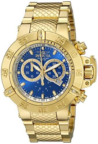Invicta Mens 14501 Subaqua Noma III Chronograph Blue Dial 18k Gold Ion-Plated Stainless Steel Watch