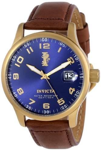 Invicta Herren-Armbanduhr XL Analog Quarz Leder 15255