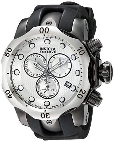 Invicta MenQuarz-Armbanduhr mit silberfarbenem Zifferblatt Chronograph Anzeige und Schwarz PU Strap 16155