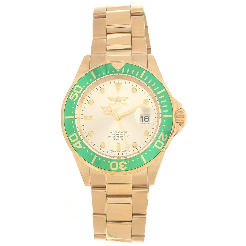 Invicta Herren-Armbanduhr 40mm Armband Edelstahl Gehäuse Gold beschichtetes Edelstahl Quarz Analog 17568