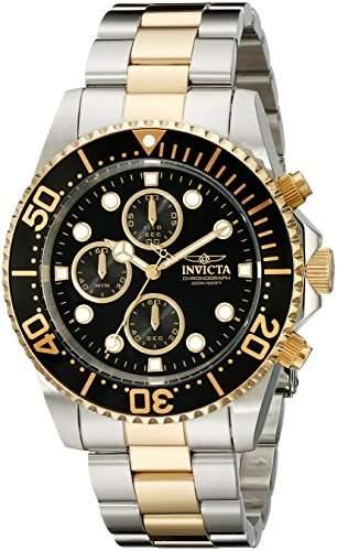 Invicta 1772 Mens Pro Diver Two Tone Black Dial Coin Edge Bezel Chronograph Watch