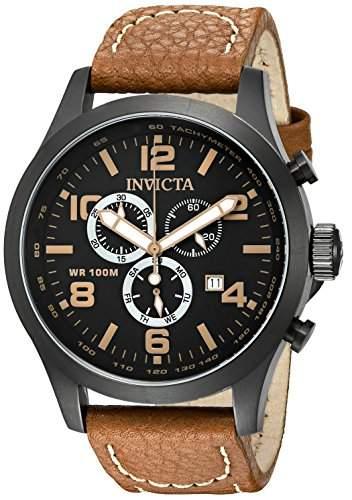 Invicta I-Force 18499 Herren-Quarzarmbanduhr mit schwarzem ZIfferblatt und braunem Lederband