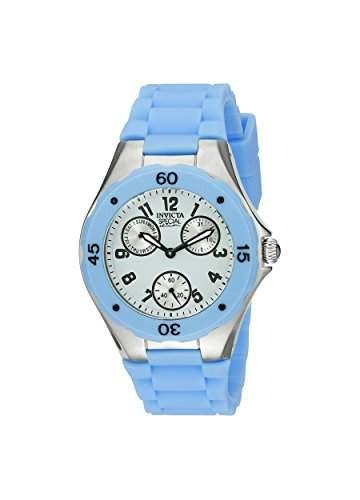 Invicta Damen 38mm Chronograph Blau Kautschuk Armband Mineral Glas Uhr 18795