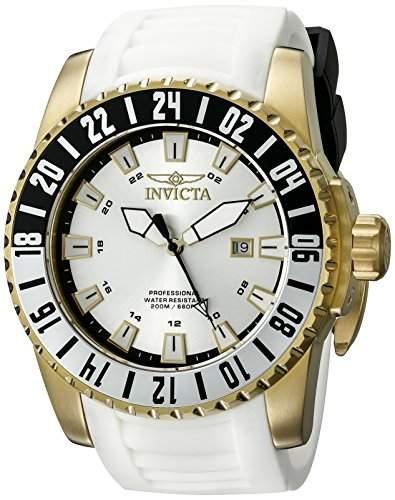 Invicta Pro Diver Herren-Armbanduhr 52mm Armband Kunststoff Weiss Schweizer Quarz Zifferblatt Silber 19683