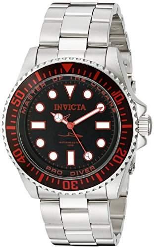 Invicta Herren-Armbanduhr 43mm Armband Edelstahl + Gehaeuse Schweizer Quarz Zifferblatt Schwarz 20121