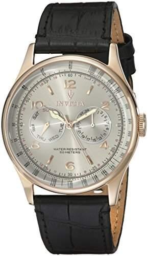 Invicta Herren-Armbanduhr 44mm Armband Kalbsleder Schwarz Gehaeuse Edelstahl Schweizer Quarz 6753