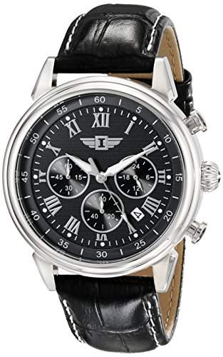Invicta Herren Chronograph ich von Scharfenberg Schwarzen Zifferblatt Silber Schwarz Leder Datum Sehen 90242-001