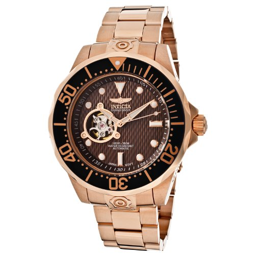 Invicta Herren 13713 Pro Diver Automatic Brown Textured Dial 18k Rose Gold Ion Plated Uhr