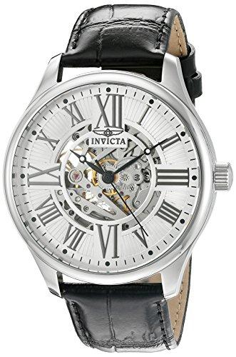 Invicta Vintage Herren Automatik Uhr mit Silber Zifferblatt Analog Anzeige und schwarz Lederband 22566